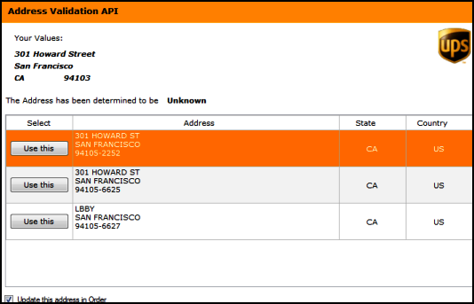 UPS_Direct_ValidateAddress
